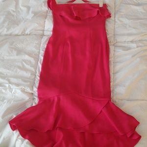 Shoshanna pink essie strapless midi dress
